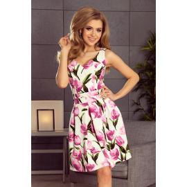 """""""V"""" kivágású zsebes női ruha Numoco 160-4 - rózsaszín"""